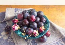 Purpurowe śliwki w zielenieją talerza Zdjęcie Stock