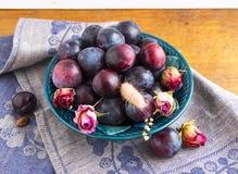 Purpurowe śliwki w zielenieją talerza Zdjęcia Royalty Free