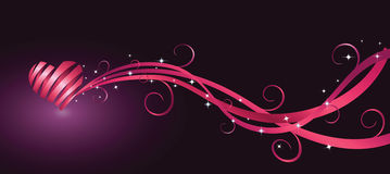 purpurowe serca tasiemkowy kształt Obrazy Royalty Free