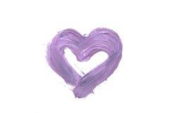 Purpurowe Serce rysujący z nafcianą farbą na białym tle, odizolowywającym Akwareli serce na bielu Zdjęcie Stock