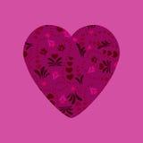 Purpurowe Serce z abstrakcjonistycznym kwiecistym ornamentem Fotografia Royalty Free