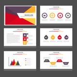 Purpurowego żółtego czerwonego Infographic elementów ikony prezentaci szablonu płaski projekt ustawia dla reklamowej marketingowe Obrazy Royalty Free