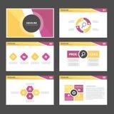 Purpurowego żółtego Infographic elementów ikony prezentaci szablonu płaski projekt ustawia dla reklamowej marketingowej broszurki Obraz Royalty Free