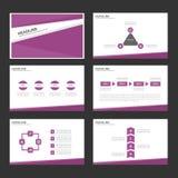 Purpurowego Infographic elementów ikony prezentaci szablonu płaski projekt ustawia dla reklamowej marketingowej broszurki ulotki Obraz Stock