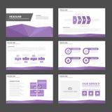 Purpurowego Infographic elementów ikony prezentaci szablonu płaski projekt ustawia dla reklamowej marketingowej broszurki ulotki Zdjęcie Royalty Free