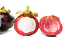 Purpurowego mangostanu tropikalna owoc odizolowywająca na bielu Obrazy Royalty Free
