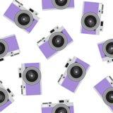 Purpurowego retro kamera wzoru rocznika fotografii modnisia bezszwowy vecto royalty ilustracja