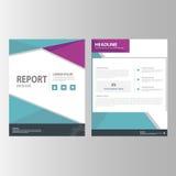 Purpurowej błękitnej sprawozdanie roczne prezentaci szablonu elementów ikony płaski projekt ustawia dla reklamowej marketingowej  Zdjęcia Royalty Free