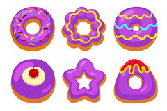 Purpurowi donuts ustawiający Zdjęcie Royalty Free
