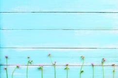 Purpurowi dzicy kwiaty na błękitnym drewnianym tle Obrazy Stock