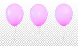 Purpurowi glansowani realistyczni balony odizolowywający Set realistyczny hel szybko się zwiększać dla urodziny ilustracji