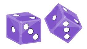 Purpurowi kostka do gry Zdjęcia Stock