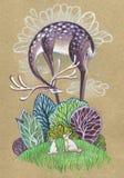 Purpurowi rogacze nad bajecznie lasowych dzieci czarodziejską ilustracją royalty ilustracja
