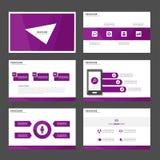 Purpurowi Wielocelowi Infographic elementy i ikony prezentaci szablonu płaskiego projekta broszurki ustalony reklamowy marketingo Obrazy Stock