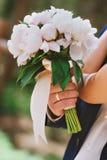 Purpurowy błękitnej i białej panny młodej bukiet Zdjęcia Stock
