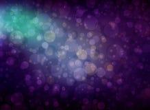 Purpurowy błękitny i zielony zamazany bokeh zaświeca w niebie, okrąża unosić się Zdjęcie Royalty Free