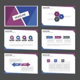 Purpurowy Błękitny infographic element i ikony prezentaci szablonów płaski projekt ustawiamy dla broszurki ulotki ulotki strony i Zdjęcia Royalty Free
