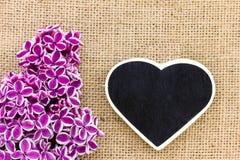 Purpurowy bez i serce zdjęcie stock