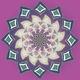 Purpurowy dalia kwiatu mandala w płaskim purpurowym tle, pastelowego koloru barłóg w rocznika stylu ilustracji