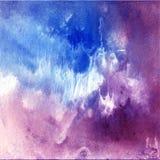 Purpurowy i błękitny akwareli tło Obraz Stock
