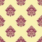 Purpurowy i kremowy arabeskowy bezszwowy wzór Zdjęcia Stock