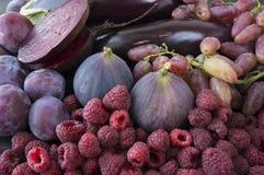 Purpurowy jedzenie Tło jagody, owoc i warzywo Obrazy Stock