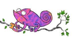 Purpurowy kameleon dołączający gałąź i patrzeć z jego oczami wszędzie ilustracji