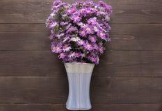 Purpurowy krajacza kwiat waza jest na drewnianym tle Fotografia Royalty Free