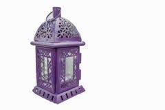 Purpurowy lampion Candlestick w postaci retro lampy Purpury ca Fotografia Royalty Free