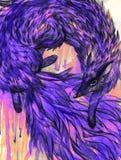 Purpurowy lis na grunge tle akwarela Zdjęcia Royalty Free