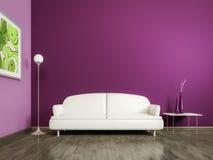 Purpurowy pokój z białą kanapą Obraz Royalty Free