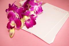 Purpurowy Storczykowy Dendrobium z pocztówką Obraz Royalty Free