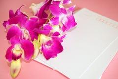 Purpurowy Storczykowy Dendrobium z pocztówką Zdjęcie Stock