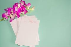 Purpurowy Storczykowy Dendrobium z pocztówką Fotografia Royalty Free