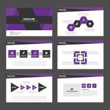 Purpurowych i Czarnych prezentacja szablonu Infographic elementów płaski projekt ustawia dla broszurki ulotki ulotki marketingu Obrazy Royalty Free