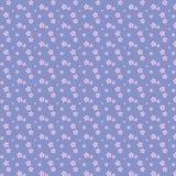 Purpurrote Blumen des lila Blumenmusters des vektors nahtlosen auf blauem Hintergrund lizenzfreie abbildung