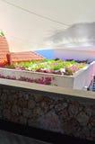 Purpurrote Blumen unter weißer Überdachung Lizenzfreies Stockbild