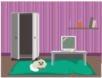 Purpurrote Ebene der Karikatur mit netter Katze, Möbeln, großem Teppich und Computer Innenvorderansicht lizenzfreie abbildung