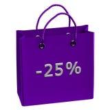 Purpurrote Einkaufstasche mit Wort -25% Stockfoto