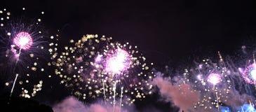Purpurrote Feuerwerke im Himmel stockfotografie
