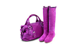 Purpurrote Frau bag&boots-1 Stockfoto