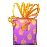 Purpurrote Geschenkbox mit gelbem Bogen Stockfotos