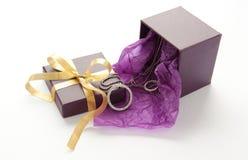 Purpurrote Geschenkbox mit Schmuck Stockbild