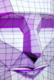 Purpurrote gestreifte Grafik auf Gesicht, grafisches Gesicht Stockfotos