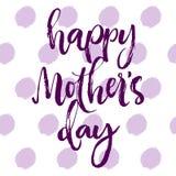 Purpurrote Grußkarte des glücklichen Muttertags Stockbild