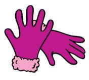 Purpurrote Handschuh-Karikatur Stockfotos