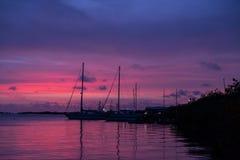 Purpurrote Himmel vor dem Sturm Stockfoto