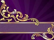 Purpurrote horizontale Fahne mit dem Gold mit Filigran geschmückt Lizenzfreie Stockbilder