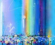 Purpurrote Kosmosblume des abstrakten bunten Ölgemäldes, Gänseblümchen, Wildflower auf dem Gebiet lizenzfreie abbildung