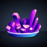 Purpurrote Kristalle des Chromkaliumalauns Stockbilder